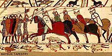 as you can see this is a scene about the Bayeux tapestry. in this scene they are all using kite shields. They were very popular in the 11th century because they were relatively light and did withhold quite a lot of damage.