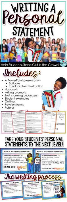 Teach your middle school and high school students how to write a personal statement. This resource is great for a back-to-school writing activity or for college entrance essays.