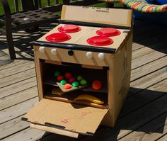 This site just gets my creative juices flowing!... My mom made me a cardboard kitchen when I was little!