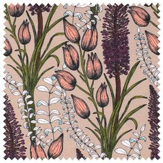 Foxtail Lily Fabric (Taupe)   Abigail Borg   Surface Pattern Designer & Floral Illustrator   Traditional Surface Pattern Design