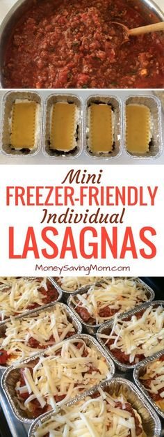These easy mini individual lasagnas are freezer-friendly and can be made ahead of time! They're perfect for on-the-go lunches or dinners! They also work great for single people, busy schedules, and work/school lunches! Make Ahead Freezer Meals, Freezer Cooking, Quick Meals, Freezer Lasagna, Individual Freezer Meals, Make Ahead Lasagna, Budget Cooking, Freezer Friendly Meals, Lasagna To Freeze