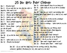 25 Day Harry Potter Challenge // oh I could do this as an Instagram thing. Or a Smashbook!