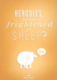 You are. You're frightens of sheep you frightened of little Woolly baa lambs.