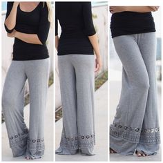Beautiful Palazzo Pants You will love these beautiful palazzo pants which are comfy and flattering. Heather gray and black roll over waistband . Nwot sizes S M L I love the crochet panel detail on the bottom . Wear them with flat sandals or wedge for a funky updated look . Vivacouture Pants