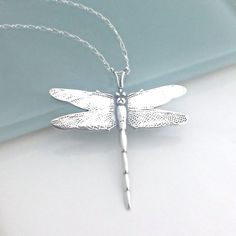 Jewelry OFF! Dragonfly Pendant Necklace Sterling Silver Dragon Fly Jewelry Graduation Gift Large Dragonfly PendantNecklaces for Dragonfly Necklace, Dragonfly Pendant, Silver Pendant Necklace, Sterling Silver Necklaces, Silver Earrings, Jewelry Necklaces, Silver Jewellery, Silver Ring, Jewellery Shops