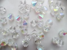 Clear AB Bicone Crystals/Destash/50 Bicone Crystals/12mm