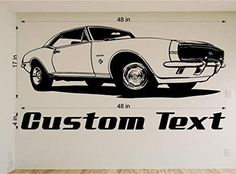 Amazing Ideas on how to turn your garage into the ultimate man cave. Vinyl Wall Stickers, Vinyl Wall Art, Wall Decal Sticker, Room Stickers, Car Decal, Chevy Camaro, 1967 Camaro, Chevrolet, Man Cave Wall Decals