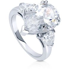 BERRICLE Sterling Silver 6.63 Carat Pear Cut CZ 3-Stone Engagement... ($55) ❤ liked on Polyvore featuring jewelry, rings, clear, women's accessories, heart wedding rings, heart shaped wedding rings, heart engagement rings, 3 stone engagement rings and sterling silver rings