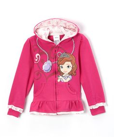 Loving this Pink Sofia the First Necklace Zip-Up Hoodie - Girls on #zulily! #zulilyfinds