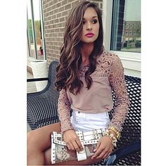 Women's Lace Crochet Splicing Chiffon Blouse – CAD $ 20.71