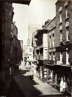 St Mary-Le-Port Street in Bristol. The albumen prints were made in the from the original paper negatives of the early Bristol England, Bristol Uk, Old Pictures, Old Photos, Bristol City Centre, Uk History, Hill Station, Picture Show, Great Places