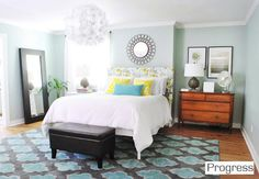 Our Paint Colors | Young House Love - Master bedroom walls: Valspar's Carolina Inn Club Aqua color matched to Olympic No-VOC paint in satin (although we used semi-gloss paint in the same color for the niche with the sink). Trim: Olympic No-VOC off-the-shelf white paint in semi-gloss.