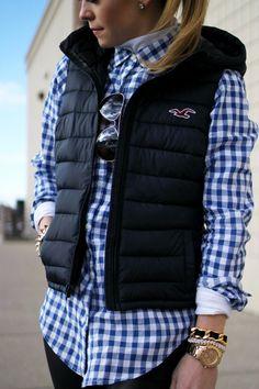 white long sleeve tee , Gingham Shirt , vest