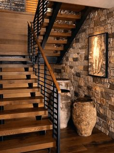 50 Amazing And Unique Staircase Design Ideas Exposed brick wall & open industrial staircase Rustic Stairs, Modern Stairs, Rustic Basement, Industrial Basement, Rustic Walls, Space Saving Staircase, Escalier Design, Staircase Design, Staircase Ideas
