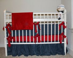 This listing is for a completely custom bedding set. You choose your desired fabrics, colors, theme, etc! Picture is only an example of the type of set this listing describes.   This set will come with (1) padded bumper (to cover all 4 sides - in your choice of pieces -- no piping), (1) regular crib blanket (app. 30x52), (1) sheet, and (1) regular bed skirt. For additional items or further customization (ruffled bumper, ruffled skirt, blanket, etc.), please message me. Fabrics: I have…