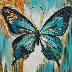 30 × 30 - Bubola - painting ideas on canvas - Kunst malen. Butterfly Painting, Butterfly Art, Butterflies, Watercolor Paintings, Original Paintings, Painting Art, Nature Paintings, Acrylic Art, Resin Art
