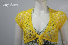 This is a free crochet pattern for Lacy Bolero with photo tutorial in each step to guide you in your crochet journey.