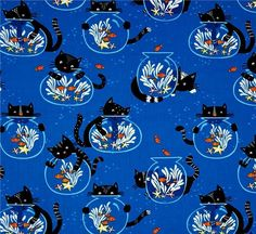 Cat Fabric - CATS & FISHBOWLS - BLUE - By The Yard #TimelessTreasures
