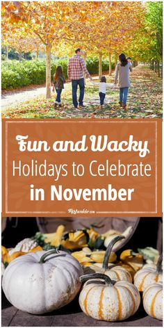 Fun and Wacky Holidays to Celebrate in November via @tipjunkie-did you know that each month has unique holidays and national days pretty much every day of the year? So, if you are a celebratory kind of person {{like I am}} you should be able to find a something or two to celebrate every day of the year, like these holidays in November. Just look through the provided list to see what is today?