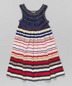 Love this Navy Stripe Babydoll Dress - Toddler & Girls by Pink Vanilla on #zulily! #zulilyfinds