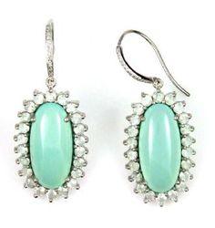 Blue Chalcedony , Prasiolite and Diamond Earrings.
