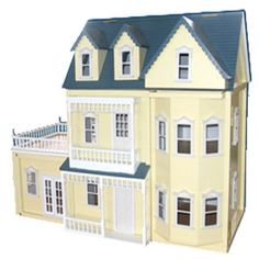Large Victorian Buttermilk (yellow) doll house - with garage or conservatory