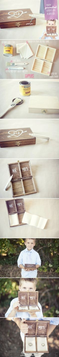 Ring box instead of ring bearer pillow...I LOVE THIS BECAUSE THEN WE COULD PUT OUR RINGS IN THERE AT NIGHT OR WHILE SHOWERING! :)