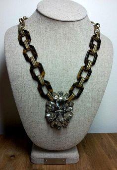 J. CREW TORTOISE AND CRYSTAL PENDANT STATEMENT BIB NECKLACE J Crew Necklace, Crystal Pendant, Tortoise, Crystals, Jewelry, Fashion, Tortoise Turtle, Moda, Jewels