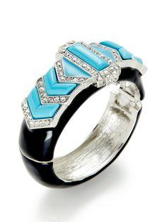 Turquoise Geometric Cuff Bracelet by Kenneth Jay Lane