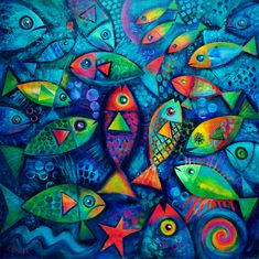 """Plenty of Fish in the Ocean"" by Karin Zeller. Paintings for Sale. Bluethumb - Online Art Gallery"