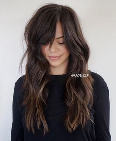 60 Chocolate Brown Hair Color Ideas for Brunettes Long Brunette Shag A. - 60 Chocolate Brown Hair Color Ideas for Brunettes Long Brunette Shag And Side Bangs - Side Fringe Long Hair, Side Bangs With Long Hair, Brown Hair Bangs, Long Brown Hair, Black Hair, Hair Side Bangs, Side Fringe Bangs, Side Part Bangs, Long Bangs