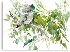 Kingfisher watercolor Olive green, sage green decor design illustration • Millions of unique designs by independent artists. Find your thing. Arches Watercolor Paper, Watercolor Paintings, Wall Prints, Canvas Prints, Kingfisher, Etsy, Original Art, Japanese, Green Sage