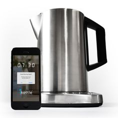 iKettle boils water on command for lazy smartphone users Put the kettle on without ever leaving the warmth of your bed. The iKettle is a Wi-Fi enabled, smartphone-controlled, water-boiling gadget. Cool Presents, Presents For Men, Smartphone, Tech Gadgets, Cool Gadgets, Electronics Gadgets, Technology Gadgets, Wi Fi, Drones