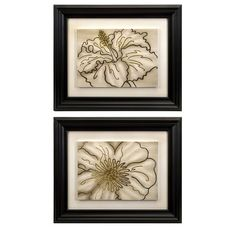 An artful addition to any decor, this beautiful framed print showcases a minimalistic floral motif.      Product: Set of 2 framed ...