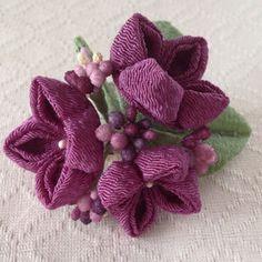 〈つまみ細工〉紫陽花の髪飾り(小・若紫)の画像