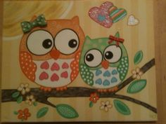 Owl painting 16x20 hand painted canvas. $40.00, via Etsy.