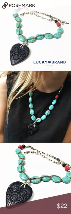 """Lucky Brand Turquoise Beaded Heart Necklace This beautiful Lucky Brand necklace is 21"""" long with a 3"""" extender. Both sides of the heart are the same. In beautiful condition! Questions? Please ask! Sorry, no trades. Bundle for a discount! Ships SAME day (EST) - New name brand jewelry added daily so check back often! Lucky Brand Jewelry Necklaces"""