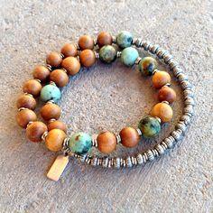 Sandalwood and African turquoise Men's wrap bracelet #mala #men #yoga