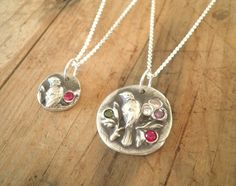 Custom Silver Mother and Daughter Bird by nineteenthirteen on Etsy, $120.00