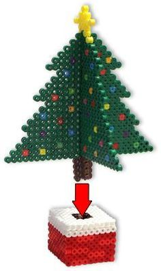 It's easy to create these dimensional trees with Perler Beads! - It's easy to create these dimensional trees with Perler Beads! There's the natural-looking ever - Melty Bead Patterns, Pearler Bead Patterns, Beading Patterns, 3d Christmas Tree, Christmas Wreaths To Make, Christmas Crafts, Magical Christmas, Homemade Christmas, Christmas Christmas