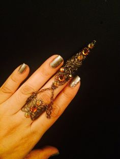 Items similar to Fairy Claw and ring or armor ring made in brass and topaz sesrovsky crystals. on Etsy Chain Rings, Armor Ring, Head Pieces, Topaz, Jewlery, Fashion Jewelry, Fairy, Etsy Shop, Crystals