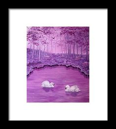 Framed Art Print,  forest,scene,swans,lake,trees,nature,water,life,landscape,dreamlike,fantasy,big,birds,white,purple,violet,mauve,image,beautiful,fine,oil,painting,contemporary,scenic,modern,virtual,deviant,wall,art,beautiful,awesome,cool,artistic,artwork,for,sale,home,office,decor,decoration,decorative,items,ideas