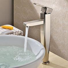 Morden Nickel Brushed Finish Solid Brass Bathroom Faucet - FaucetSuperDeal.com