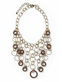 Metal and wood link bib necklace