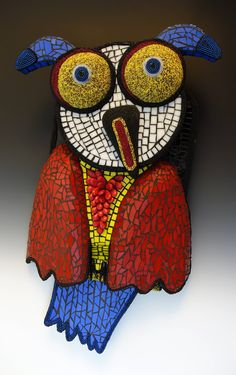 """Glass and Beaded Mosaic Owl:  """"Curious Owl"""" (Paper Mache, Wood, Glass, Beads - designed and created by Karen J Lauseng)."""