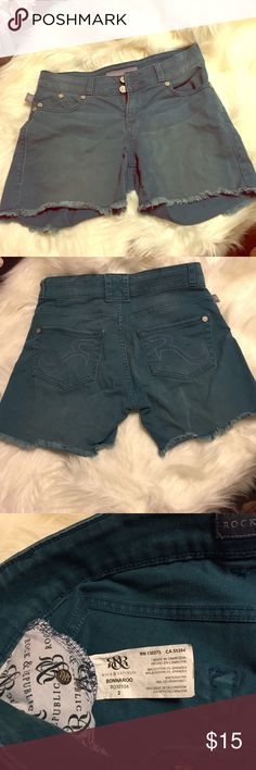 Blue denim Rock & Republic shorts Cut off shorts. Good condition. Rock & Republic Shorts Jean Shorts