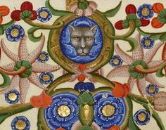 cat face ornament Nicolaus de Lyra super Bibliam, Italy ca. 1402. Manchester, John Rylands University Library, Latin MS 29, fol. 252v