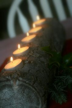 Collecting the Moments... one by one: Handcrafted Holiday ~ Yule Log Candle Holder