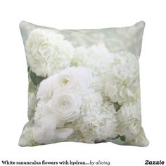 White ranunculus flowers with hydrangeas