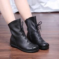 Womens Floral Embroidery Lace Up Boot Platform Comfortable Flat Ankle Bootie